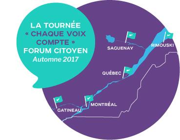 La tournée  « Chaque voix compte » Forum citoyen automne 2017